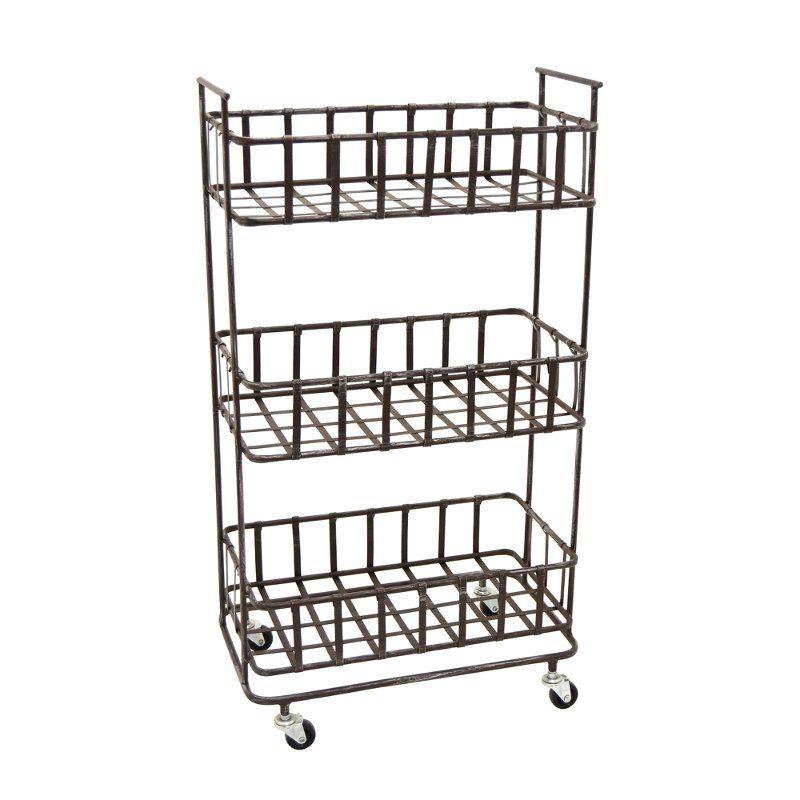 Rust Tone Metal 3 Basket Storage Rack On Wheels Metal Storage Racks Metal Shelving Units Metal Shelves