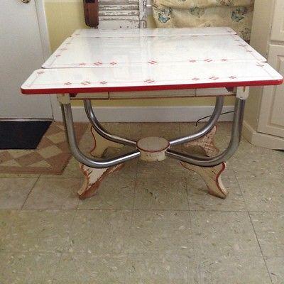 1940 S Vintage Porcelain Enamel Top Kitchen Table With Drawer Top Kitchen Table Vintage Kitchen Table Kitchen Tops