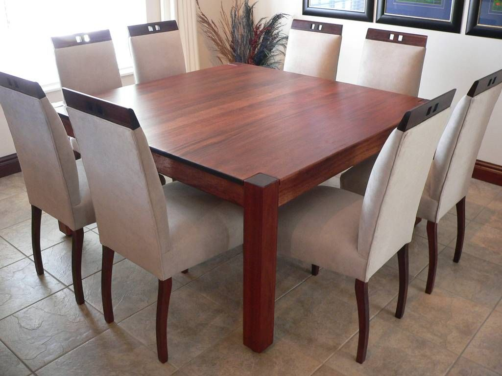 Wooden square dining table - Dining Room Cool Oversized Dining Room Table Design Ideas With Marvelous Brown Wood Square Shaped Dining Table And Comfortable White Dining Chairs Also