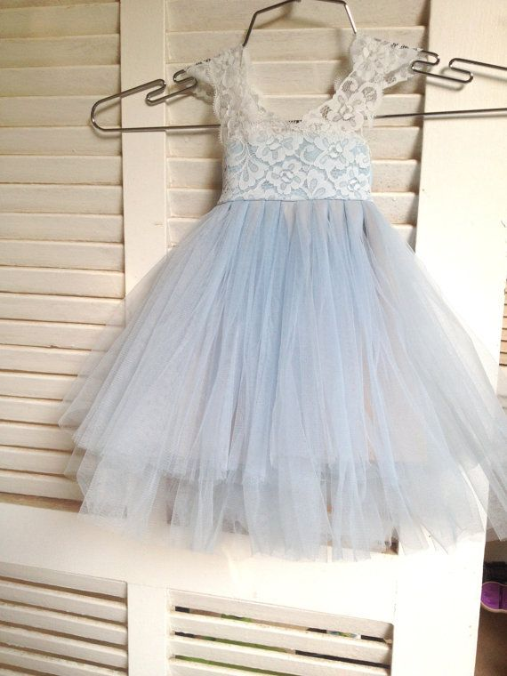 07ad76b51f7 Magic Orchid Light blue Flower Girl Dress French lace and tulle ...