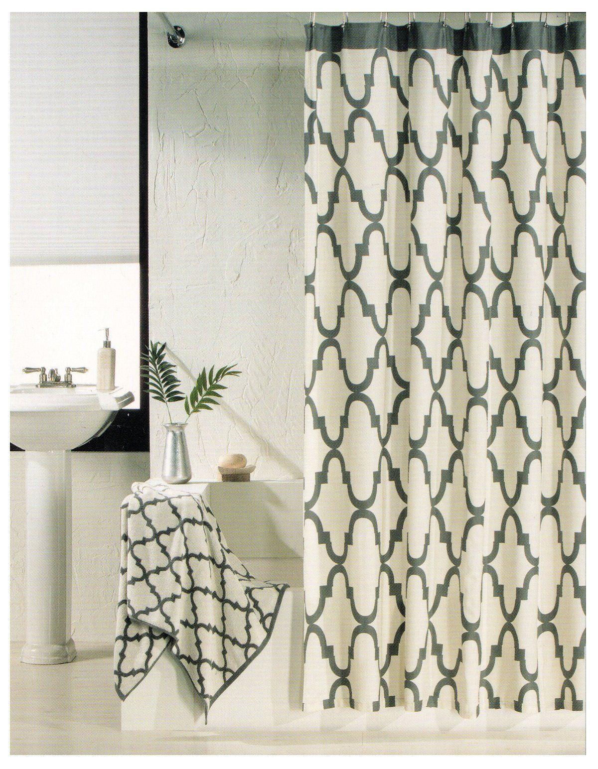 100 Percent Cotton Shower Curtain Moroccan Tile Quatrefoil Off