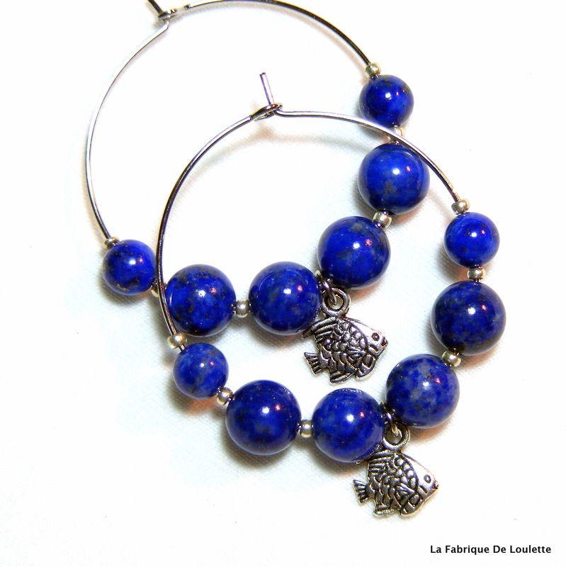 Créoles Bleues, Créoles Breloques Argent, Perles Lapis Lazuli, Créoles Fantaisie Bleues : Boucles d'oreille par la-fabrique-de-loulette