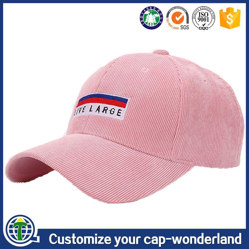dc4421524 6 panel plain wholesale pink blank corduroy baseball cap embroidered ...