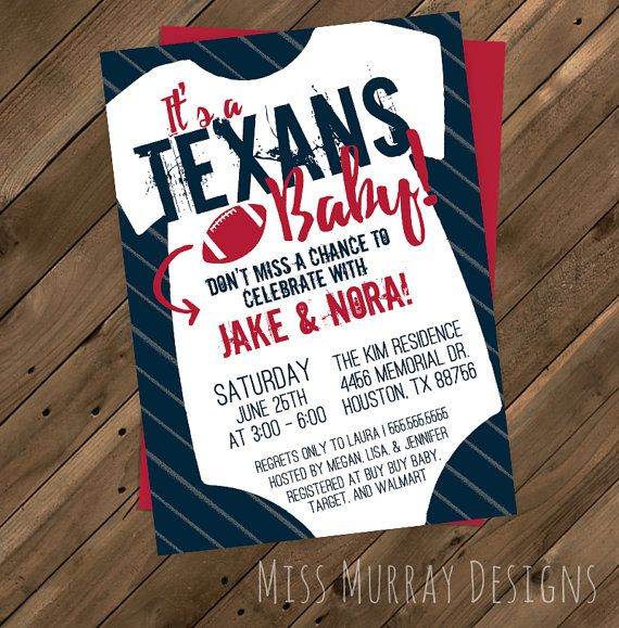 Texans Baby Shower Invitation Printable Pdf By Missmurraydesign Texans Baby Shower Printable Baby Shower Invitations Football Baby Shower