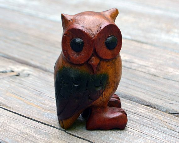 Vintage Quirky Wood Owl by RevolutionMercantile on Etsy