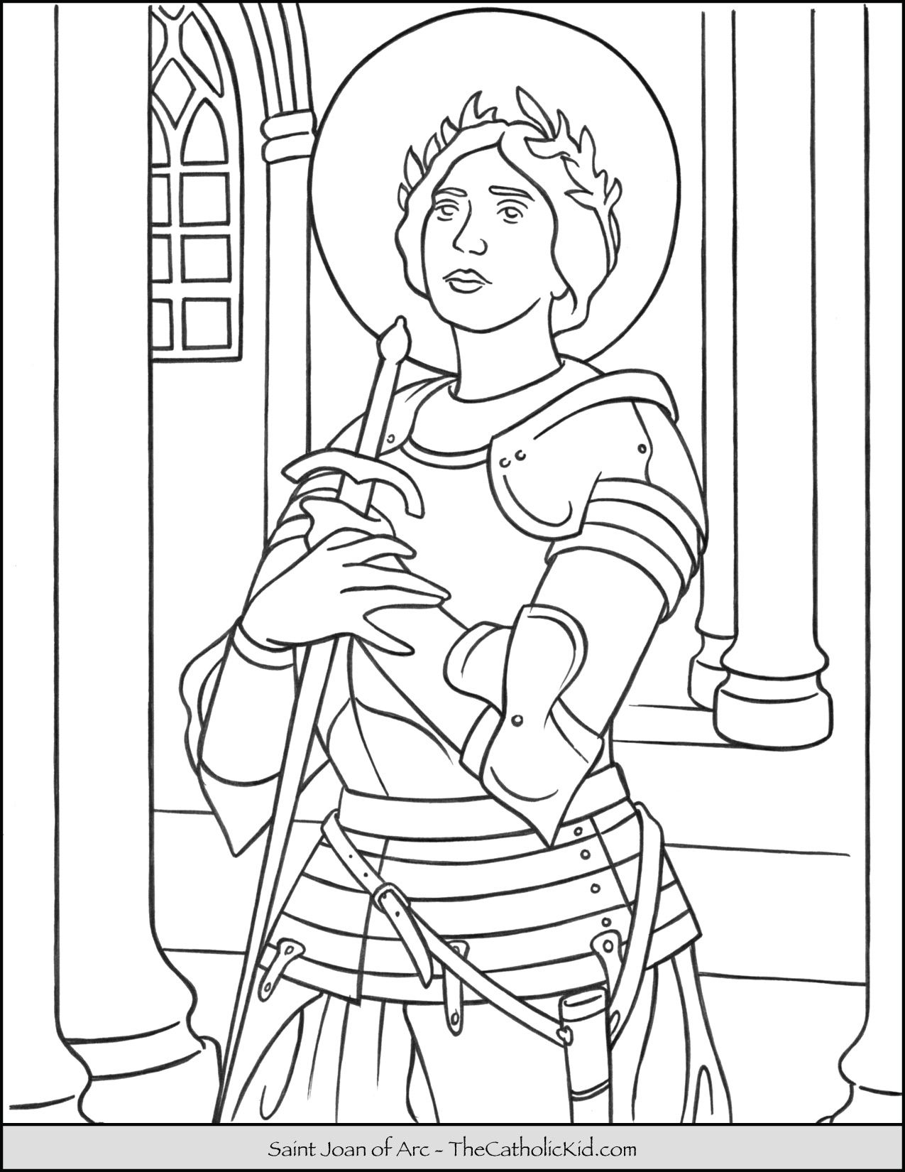 Saint Joan Of Arc Coloring Page Thecatholickid Com Saint