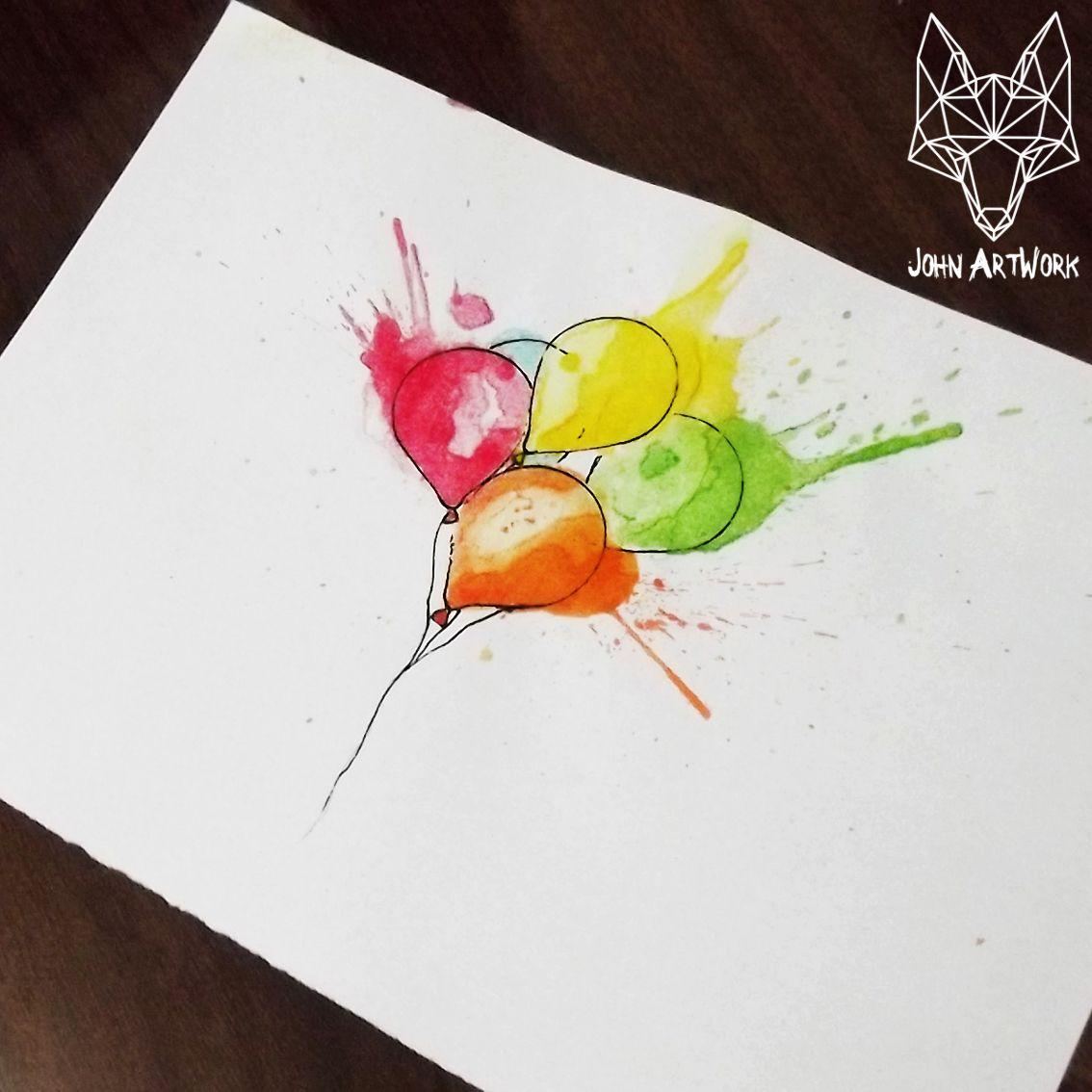 #balloon #balloons #watercolor #drawing #tattooideas #tattoo #artwork #john_artwork #john artwork #aquarela #balão #balões