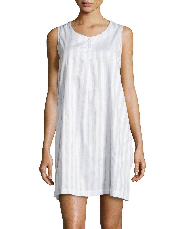 cff94311fe Tina Shadow-Stripe Sleeveless Sleep Shirt