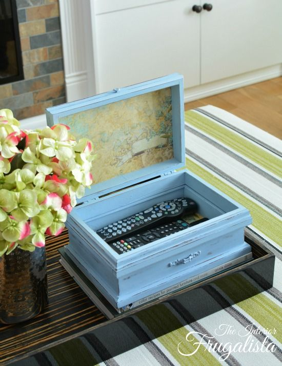 Vintage Jewelry Box Repurposed Into Remote Control Storage #apartmentdiy