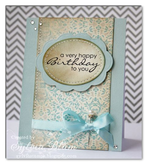 using @Authentique Paper, a #WhimsyStamps sentiment stamp and some @Spellbinders oval dies