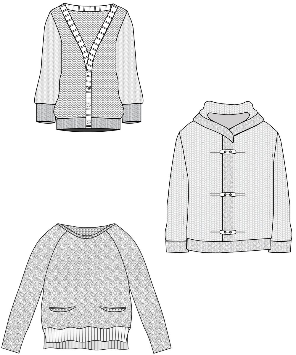 knit sweater fashion illustration | flats sketches and specs