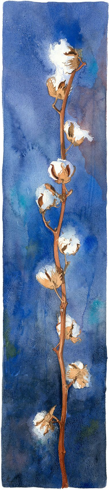 Title: Cotton  This is a high quality full sized Giclée print, of an original watercolour of a branch from a cotton plant.  The original painting