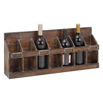 Woodland Imports Slotted 7 Bottle Wood Wine Rack - 54417