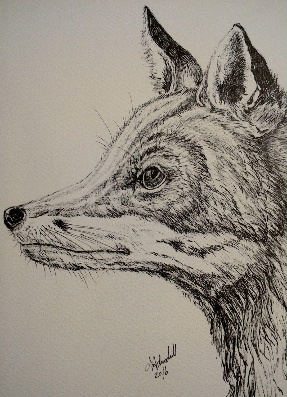 stunning black and white fox print from my original work ...