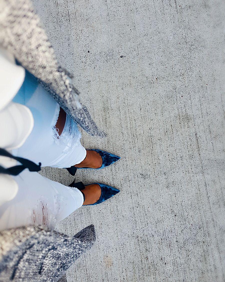 Shoes: Crushed velvet heels-Zara Coat: 3DegreesDB