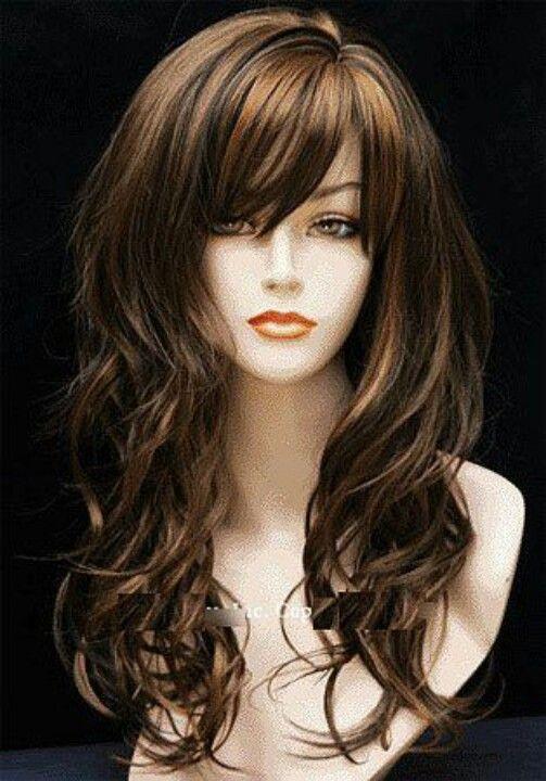 Honey Brown Highlights Long Haircuts With Bangslong Hair