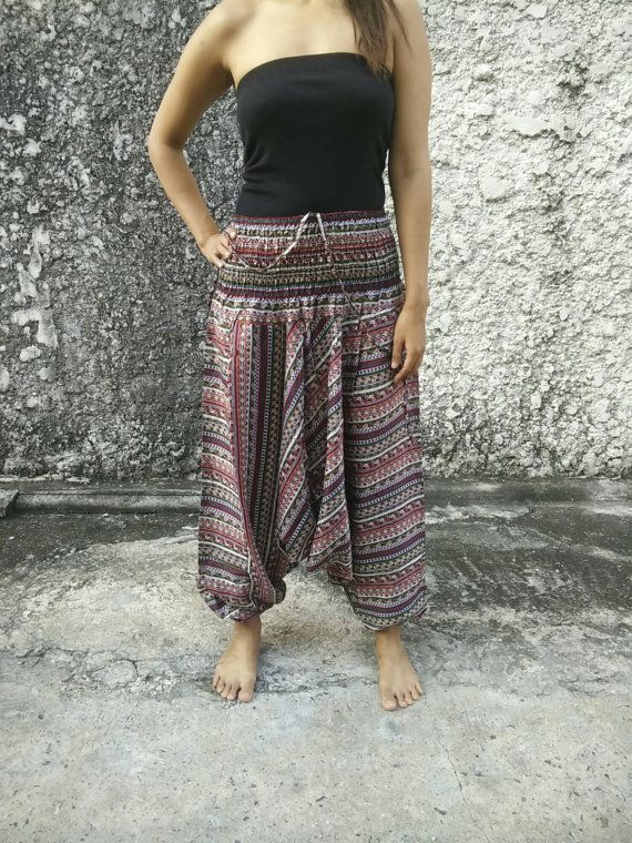 Boho Jumpsuit & Drop Crotch Harem Pants Aztec by TribalSpiritShop