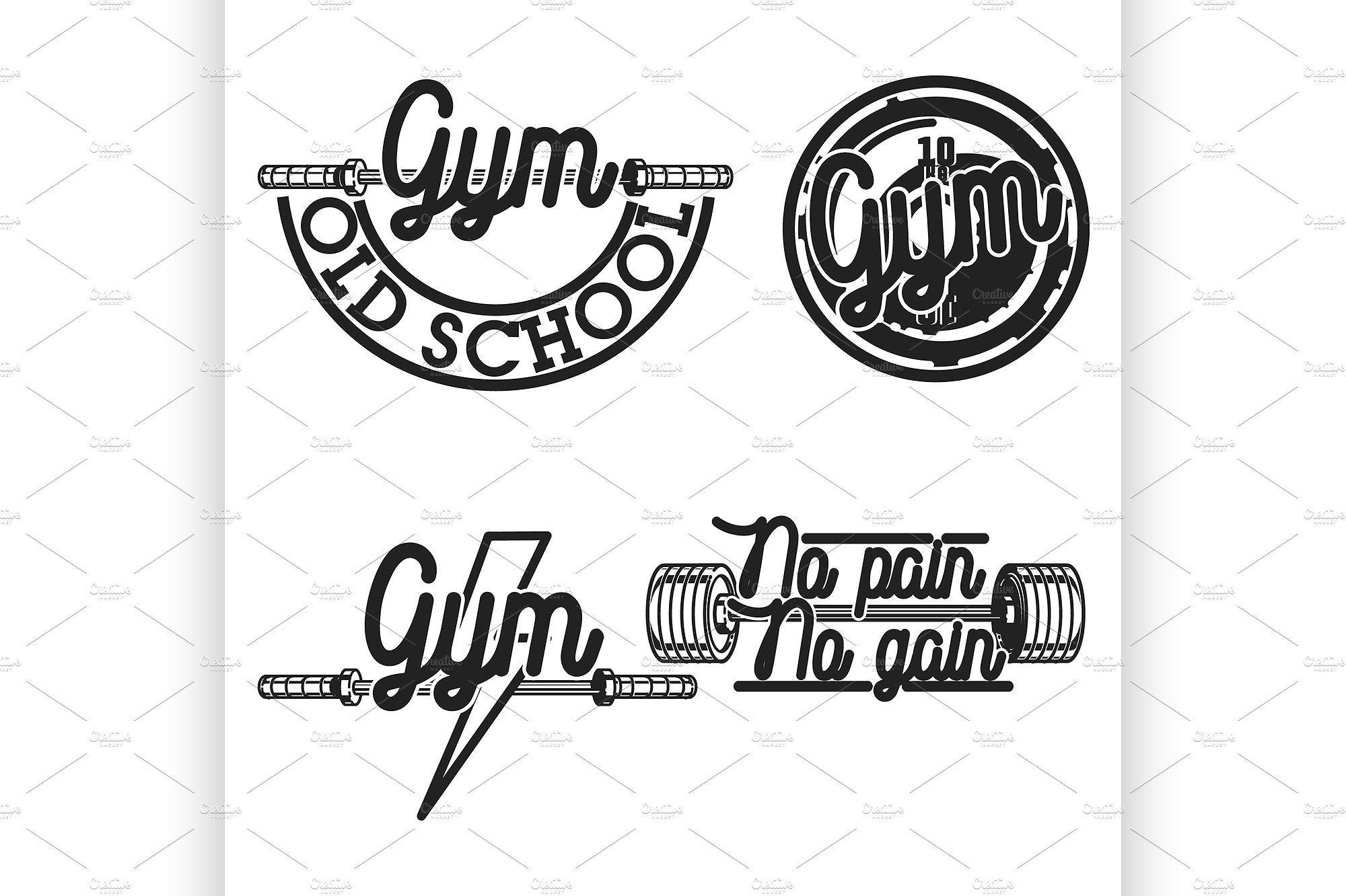 Set of vintage gym emblems - Illustrations - 1