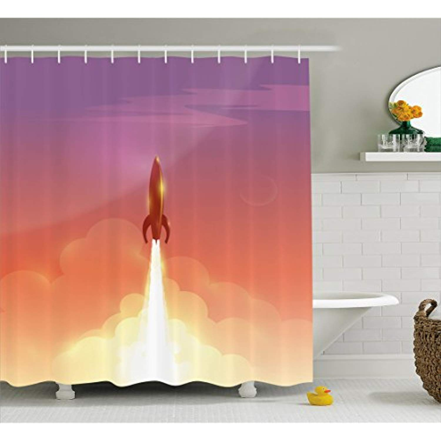 Ambesonne Outer Space Shower Curtain By Illustration Of Retro Rocket Flying To Sky Technology And Galaxy Theme Fa Bathroom Decor Sets Curtains Bathroom Decor
