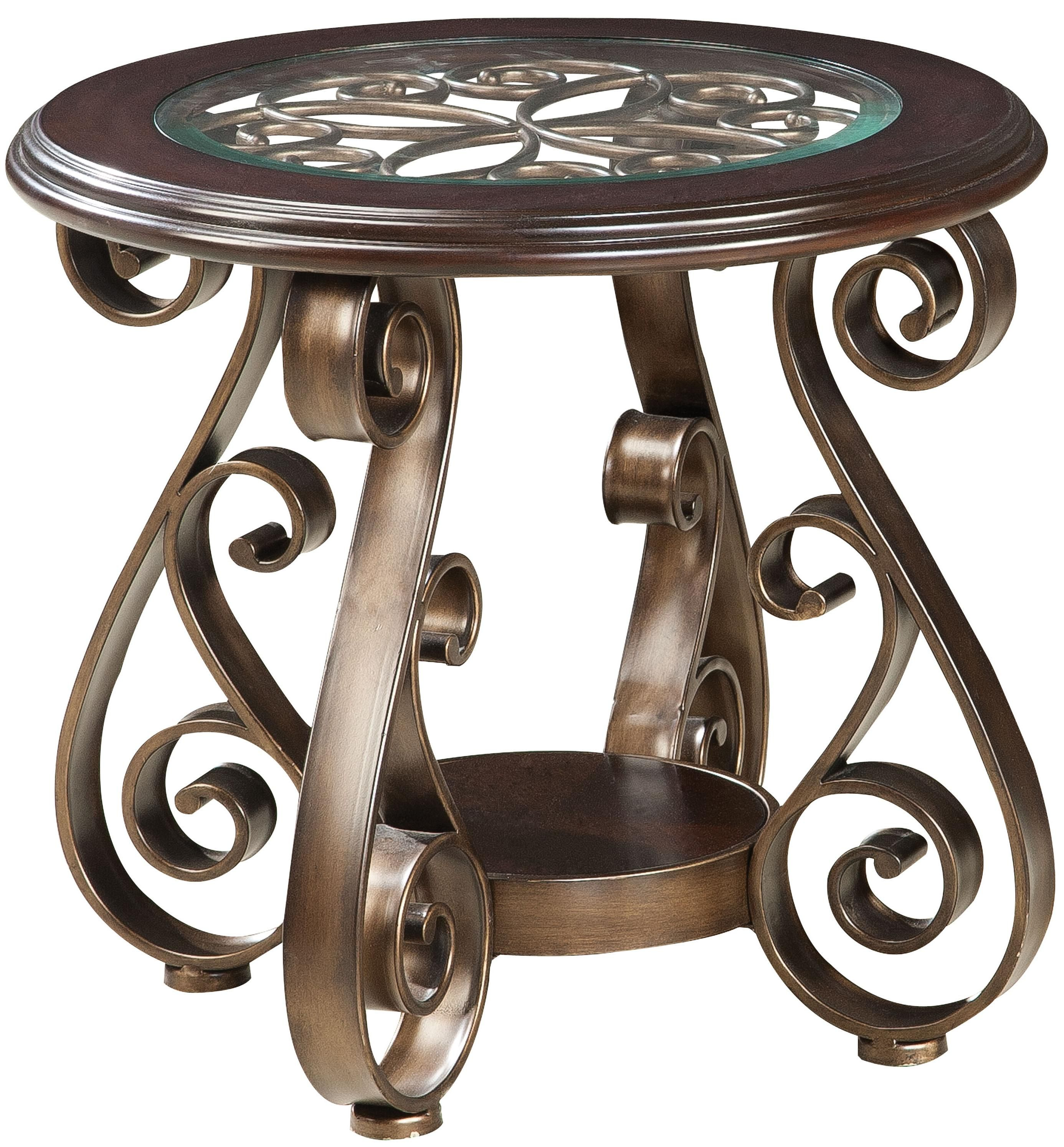 Standard Furniture Bombay Old World End Table With Glass Top And S Scroll  Legs