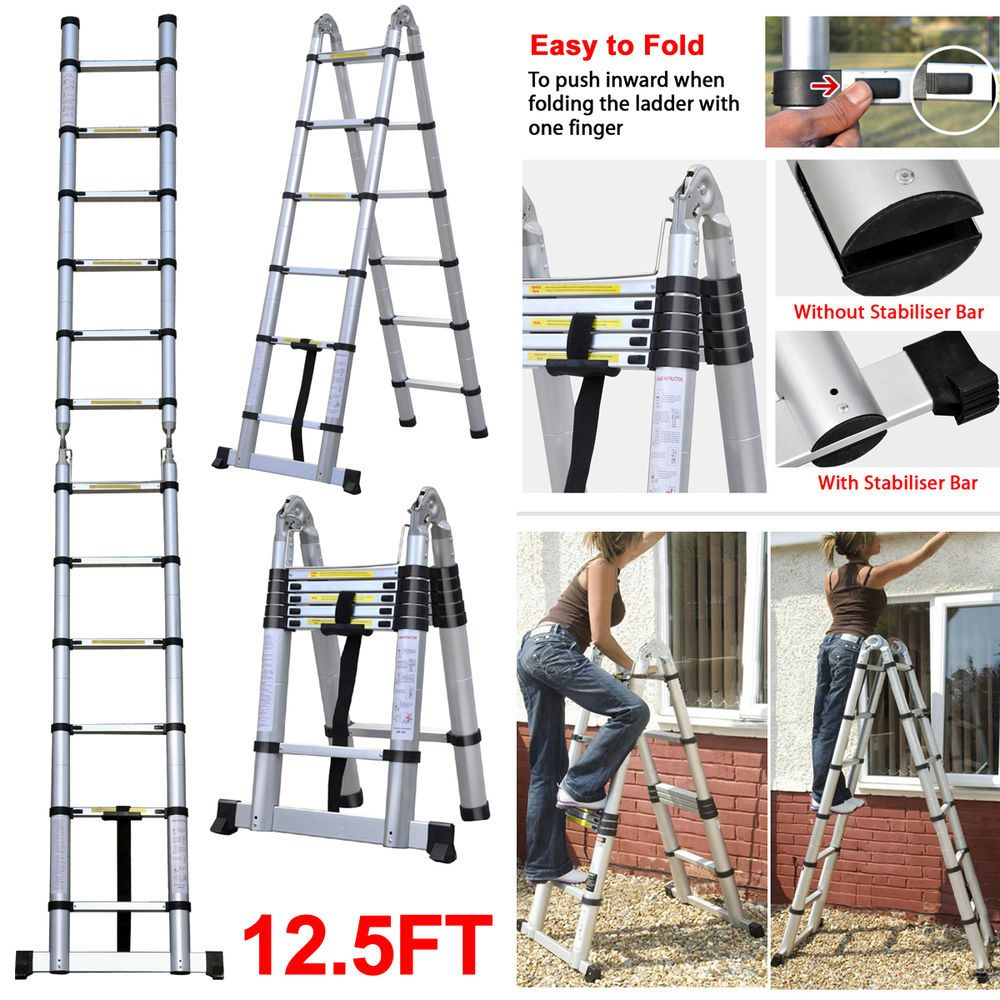 EN131 Std. 12.5 ft Aluminum Telescopic Telescoping Collapsible ...