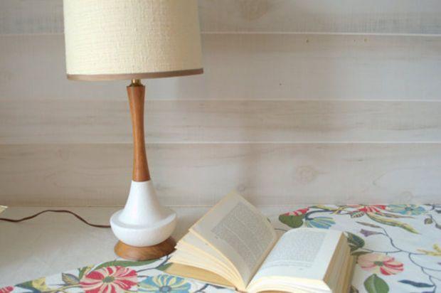 Mid Century Table Lamp, White Beside Lamp with Shade, Mid Century Modern Lamp, Danish Modern Ceramic Lamp