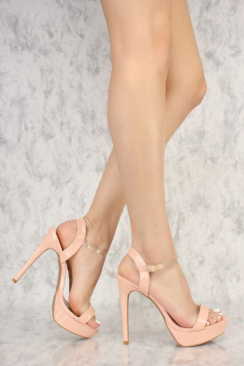 42703b28487 Soft Blush Clear Ankle Strap Open Toe Platform Pump High Heels Patent Faux  Leather