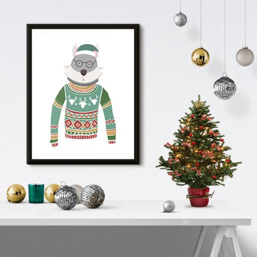 Husky Wearing Green Sweater Christmas Poster Print by PastelTrail - christmas decors