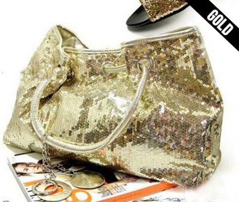 Sequined carryall bag from #ikOala #shopping #deals. Choose from three colours; gold, silver or black. Just $25.