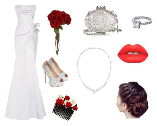 """Wedding"" by mollyparris ❤ liked on Polyvore featuring Sia, Lauren Lorraine, Christian Louboutin, Zac Posen, Lime Crime and Stephen Webster"