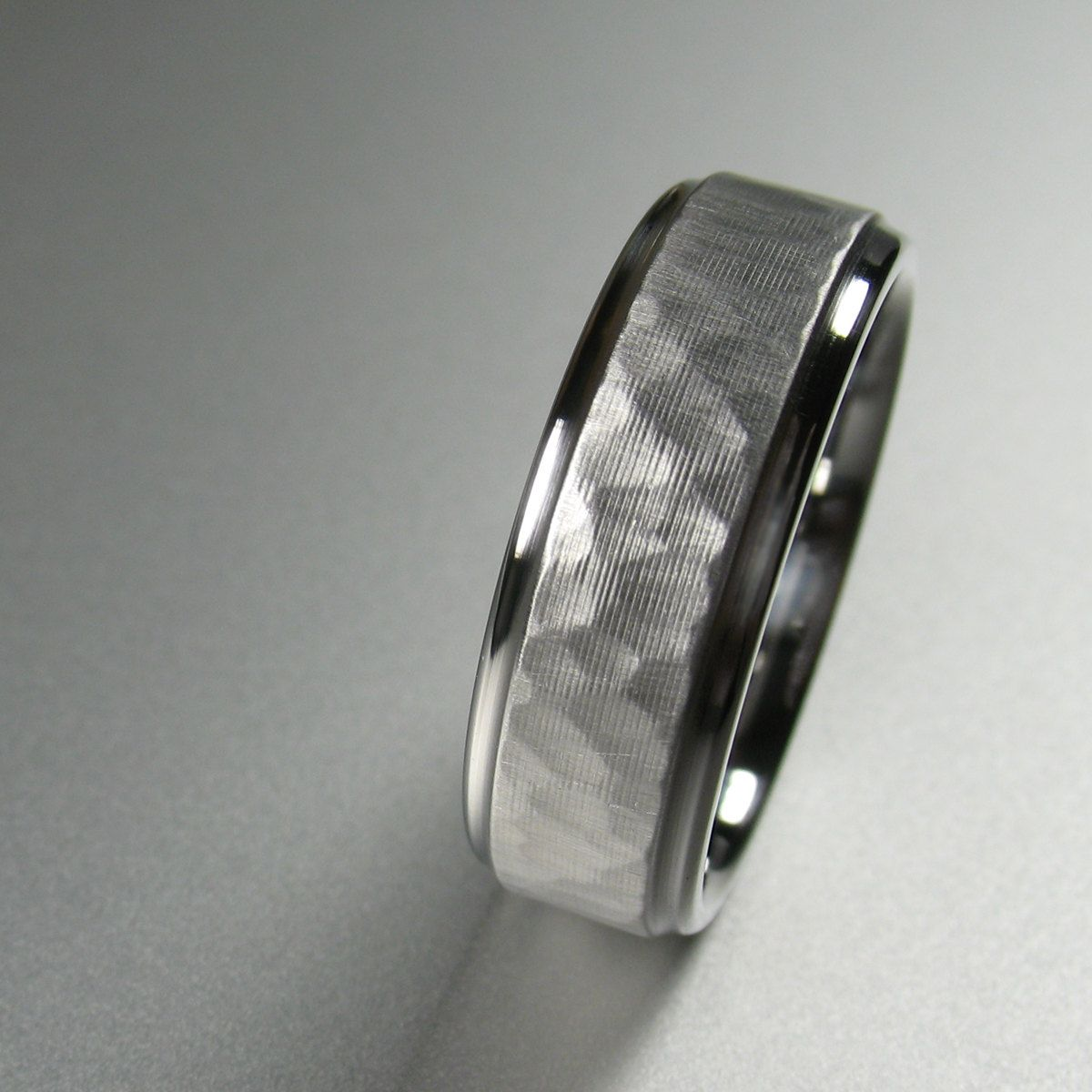 Wedding band I love the hammered metal and bevel it hides