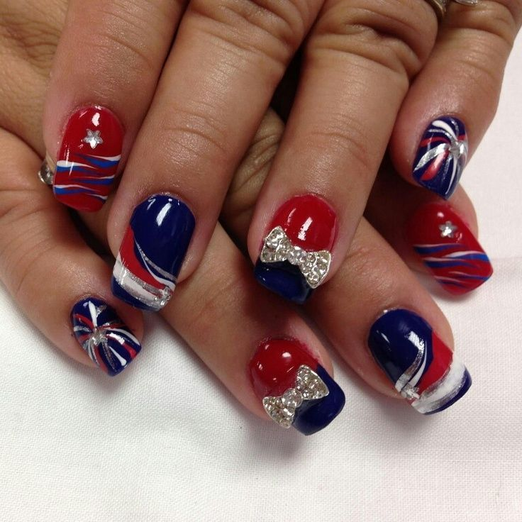 Patriotic nails! #bow #cute, #patriotic   Nail Art   Pinterest