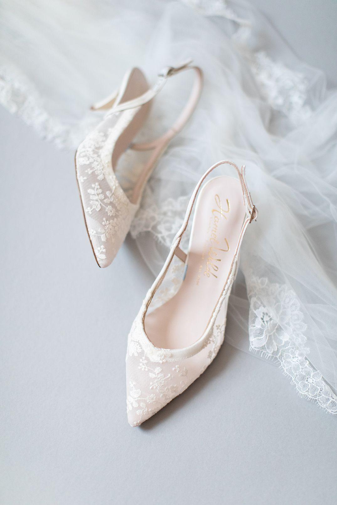 Low Heel Bridal Slingback Pointed Toe Pump Chloe Wedding Shoes In 2020 Pointed Toe Pumps Wedding Shoes Low Heels