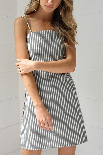 Gray Stripe Pattern Slip Backless Bowknot Mini Dress