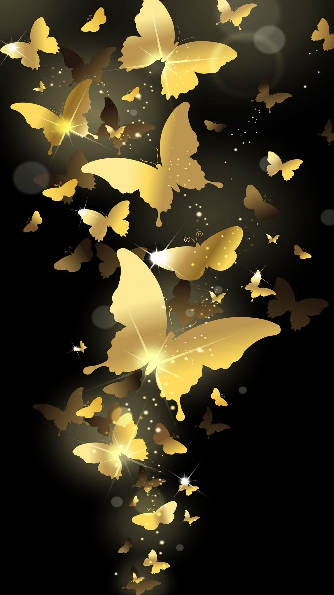Gold Butterflies On Black Wallpaper Butterfly Wallpaper Gold Wallpaper Iphone Phone Lock Screen Wallpaper