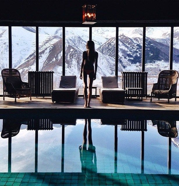 Indoor pool of the rooms hotel kazbegi georgia in 2019 for Design hotel kazbegi