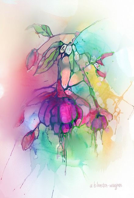 Pink Fuchsia By Arline Wagner Watercolor Abstract Tattoo Flower Art Painting Abstract Watercolor