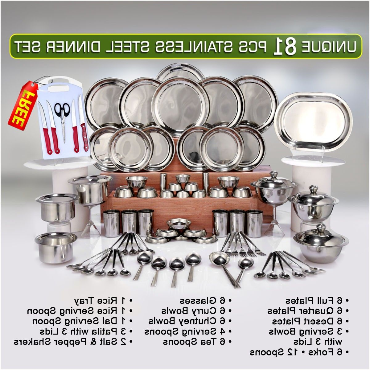Unique 81 Pcs Stainless Steel Dinner Set Free Knife Set From Naaptol