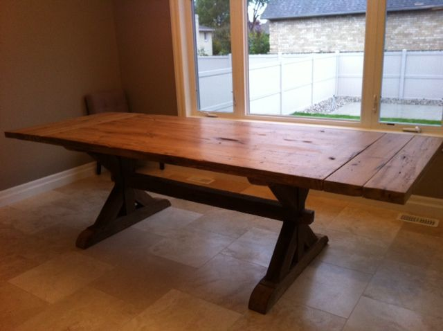 Custom Built Reclaimed Dining Table With Breadboard End Leaves And