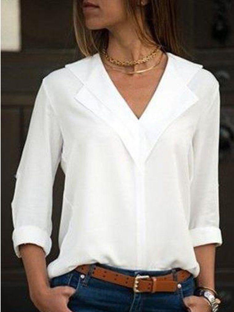 Solid Color V Neck Long Sleeved Blouse Camisa De Moda Blusas Camisas Blusas Blancas