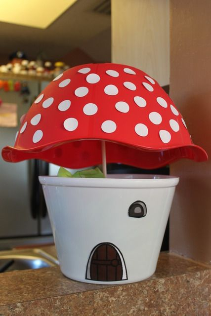 mushroom pail for staging and decor-LOL I just bought this bowl to make a mushroom with a stump stem!!
