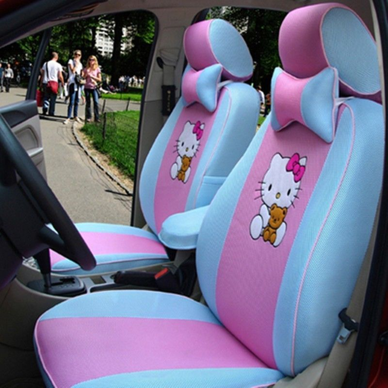 New Custom Version 12 PCs Hello Kitty Blue And Pink Car Seat Covers Bow Pillows