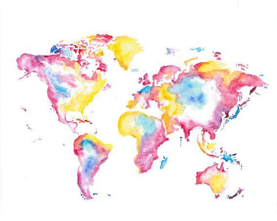 World Map Watercolor Push Pin Map Travel Map Poster