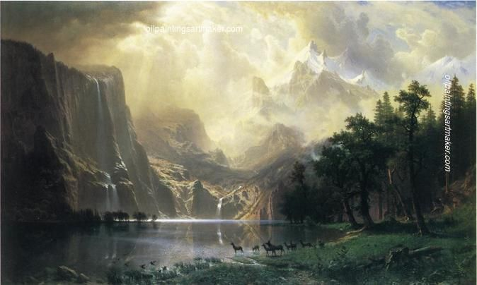 Albert Bierstadt Among the Siera Navada Mountains, California painting in my site, painting
