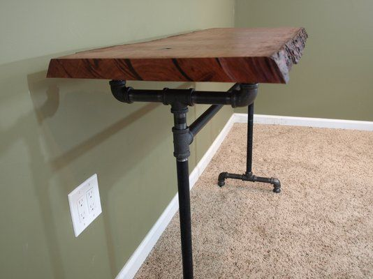 Custom Made Console Table With Live Edge Cherry Slab And Black Iron Pipe