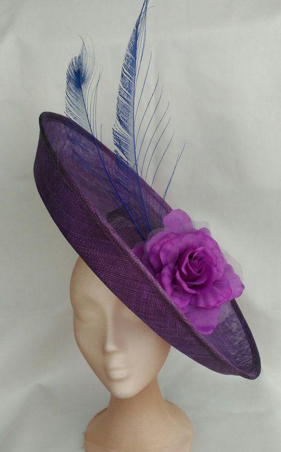 Purple and blue hat, Purple kentucky derby hat,Wedding hat purple ...