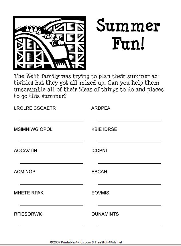 Summer Fun Word Scramble. Printable puzzle for kids ...