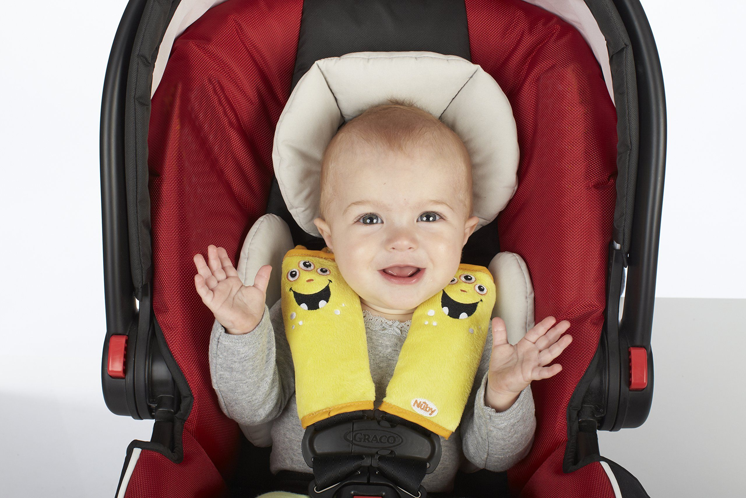 Nuby Car Seat Strap Baby Carseat Cover Belt Covers For Kids Stroller Accessories Head Support Shoulder Pads Yellow Monster