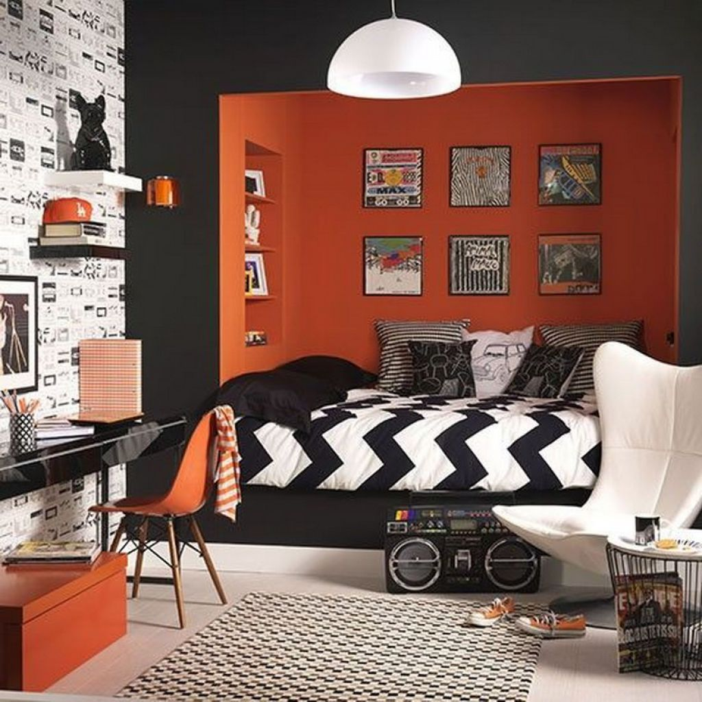 Black and orange bedroom - Modern Teenage Boy Bedroom With Orange Black Wall Color And Wallpaper And Using Chevron Comforter