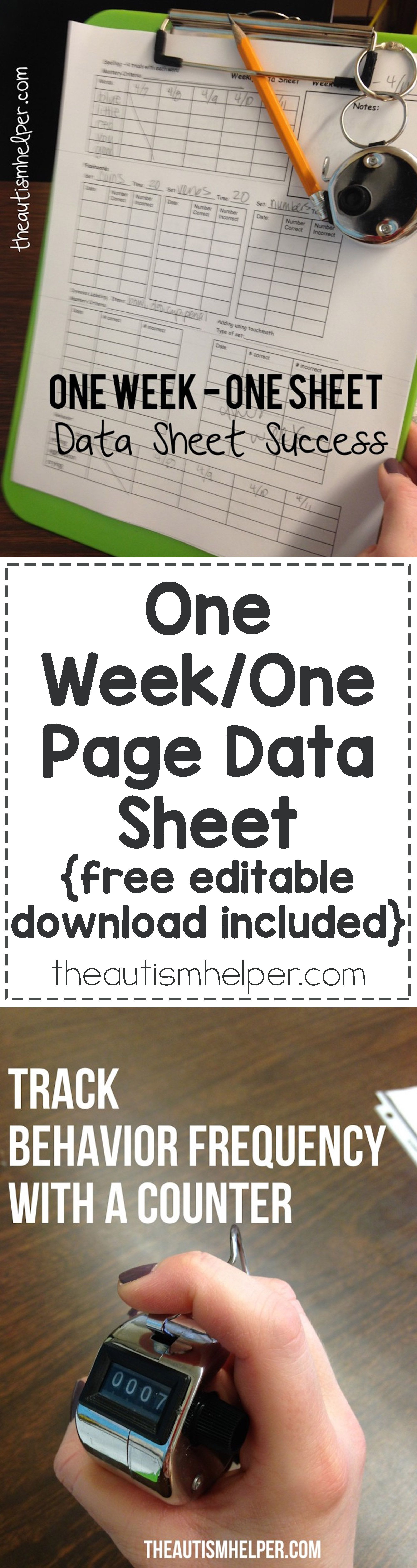 One Week One Page Data Sheet Free Editable Download